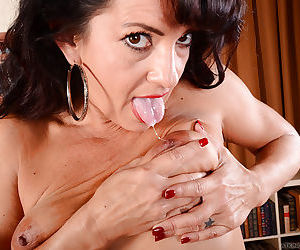 Small boobed brunette mom Gabrielle Lane dispalying wide open vagina