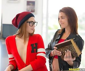 Lesbian girls meet for study session and end up eating wet pussy