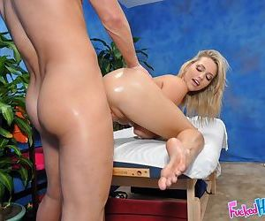 Young blonde teenage Mia having her perfect 18 year old body oiled