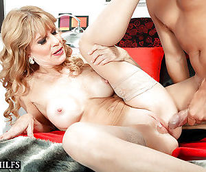 Mature mom Denise Day revealing big tits in stockings before bald cunt fuck