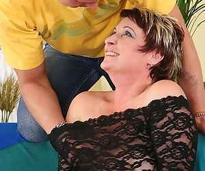 Fatty mom with massive saggy tits gets shagged tough by a younger guy