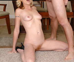 Lustful blonde MILF gives a sensual blowjob for cum on her face and tits