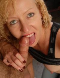 Older blonde lady Heidi giving blowjob and taking cum facial in kitchen