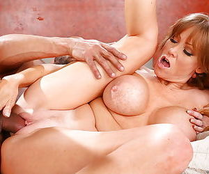 Sultry mature slut fucks a hung black guy for cum on her face and big tits