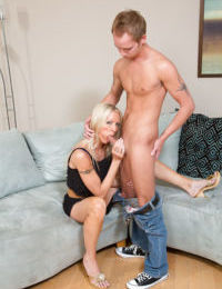 Lustful mature blonde vixen seduces and fucks a young hung guy