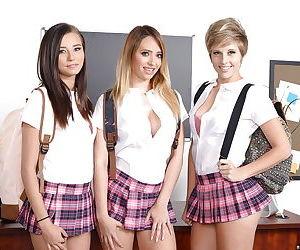 Schoolgirl Quinn Wilde and teen gfs pose non nude in sports socks and heels