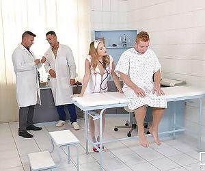Teen Euro nurse Sofi Goldfinger giving blowjob before blowbang in uniform