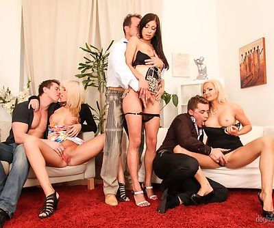 Orgy loving girls in heels share cocks for DP in steamy groupsex session