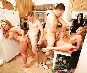 Lustful babes have some hardcore fun with hard meaty poles at the house party