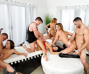 MILF pornstars receive facial cumshots after wild orgy fuck session