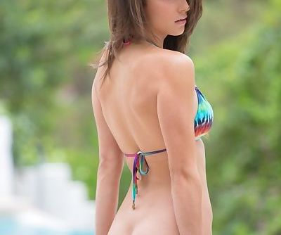 Immensely hot brunette girls demonstrating their curves at the poolside