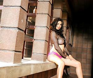 Hot Asian MILF pornstar Tera Patrick showing off huge tits in sheer lingerie
