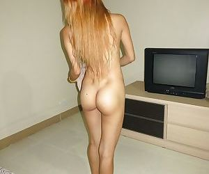 Barefoot Thai chick with shaved vagina taking Gonzo style cumshot on ass