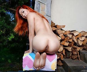 Redheaded Asian first timer Lea Hart flashing upskirt schoolgirl pussy