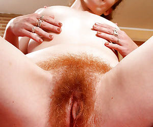 Redheaded mom Ana Molly displaying hairy vagina for close ups