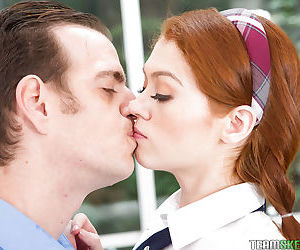 School girl Alice Green sucks a gigantic white cock at school