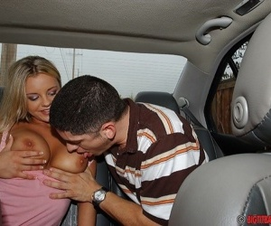 Slutty teen Bree Olson gets her nipples licked and gives head in the car