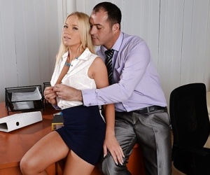 Blonde secretary Kiara Lord drips cum from mouth after hardcore office sex