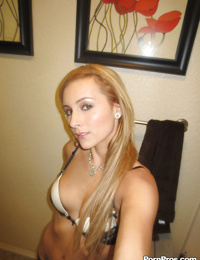 Beautiful blonde slut Nikki loves self shot undressing