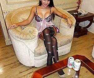 Brunette Asian ladyboy Natty toying asshole before big cock anal penetration