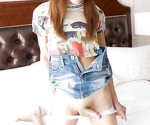 Innocent Asian ladyboy Pink 2 taking bareback anal while jerking off