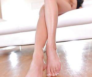 Close ups of hot Italian babe Shalina Devine fingering bald vagina