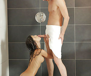 Skinny Euro teen Gina Gerson giving and receiving oral sex in shower