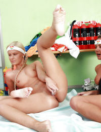 Slutty lesbian teen babes getting naked and toying each other