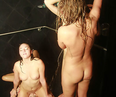 Horny brunette teen Christiana Snow enjoying a foursome in a shower