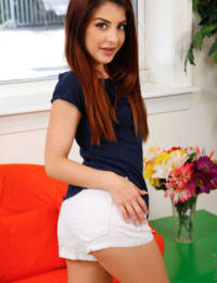 Tiny titted petite teen Sally Squirt sheds cotton panties & toys with dildo