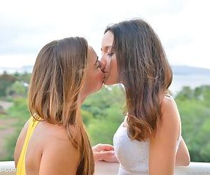 Leggy lesbos in high heels flash no panty upskirts outside and kiss on lips