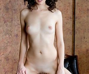 Slender dark haired glam model Swan A unveiling shaved vagina beneath dress