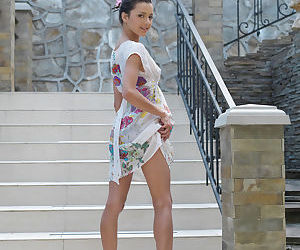 Hot brunette Divina A flashes public nude upskirt & flaunts skinny young body