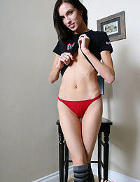 Skinny amateur Katie Reynolds shows off her private parts in striped socks