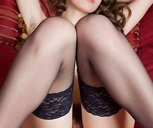 Skinny young starlet in black stockings Kristel reveals her hairy twat