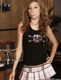 Smoking teen babe in miniskirt Nicole Ray uncovering her tiny curves