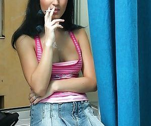 Young miniskirt babe with yummy tits drinking cum from a shot glass