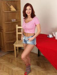 Beautiful big tit brunette babe Jana undressing her wonderful body