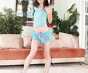 Young petite teen babe Sensi Pearl undressing like a pro stripper