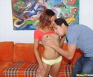 Fancy Latin teenie Alea enjoys deep penetration of a giant cock in a tiny cunt