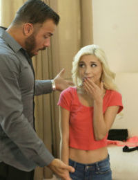 Tiny blonde Piper Perri dons schoolgirl clothes to make up with her boyfriend