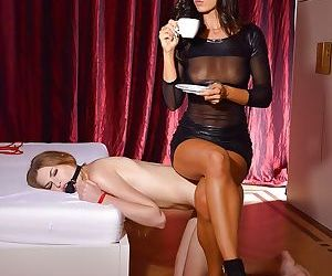 Young blonde endures lezdom BDSM training session and bare ass spanking