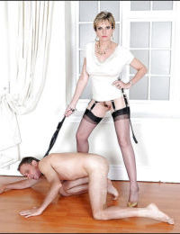 Mature femdom whips her manslave and tortures him with her high heel shoes
