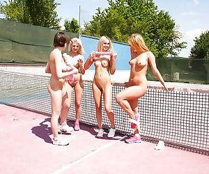 Naughty teen hottie Joleyn Burst and dyke gfs flashing young twats outside