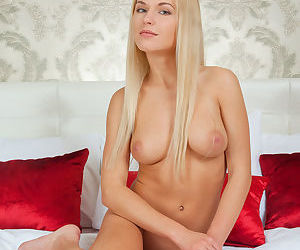 Gorgeous Euro blonde Xena demonstrating perky young girl boobs