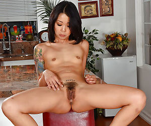 Asian amateur girl Saya Song stretches her hairy twat and fingers her holes