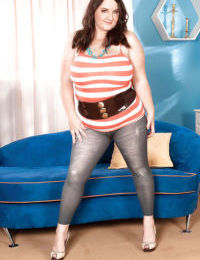 Bbw Danica Danali plays with her mature big tits and huge fat ass