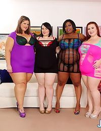 SSBBW girls in heels with huge saggy tits toying with strapon in lesbian orgy