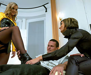 Two clothed chicks find ways to fuck young boy from warehouse in front office