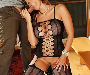 Ravishing european knockout in sexy nylon suit gets fucked and facialized